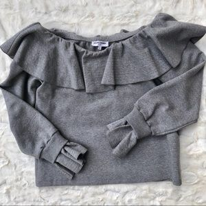 Opening Ceremony Off Shoulder Grey Ruffle L/S Top